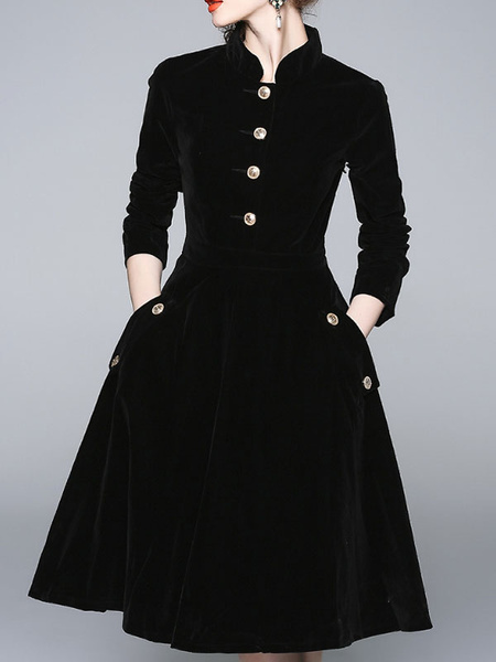 Milanoo Vestido de patinador de manga tres cuartos de vestido de terciopelo negro de las mujeres del vestido de terciopelo