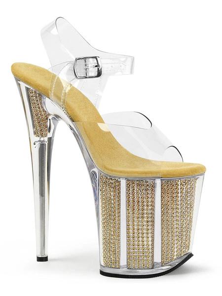 Milanoo De tacon alto atractivos de las sandalias de plata de la PU del dedo del pie del pio del cuero transparentes sandalias atractivas