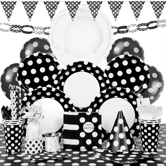 Deluxe Black Polka Dot Party Supplies Kit For 8 By Unique   Michaels®