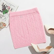 Solid Cable Knit Skirt