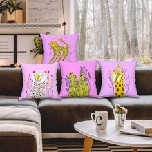 1pc Cartoon Animal Print Cushion Cover Without Filler