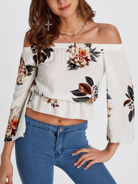 Yoins White Elastic Strap Random Floral Print Off The Shoulder Blouse