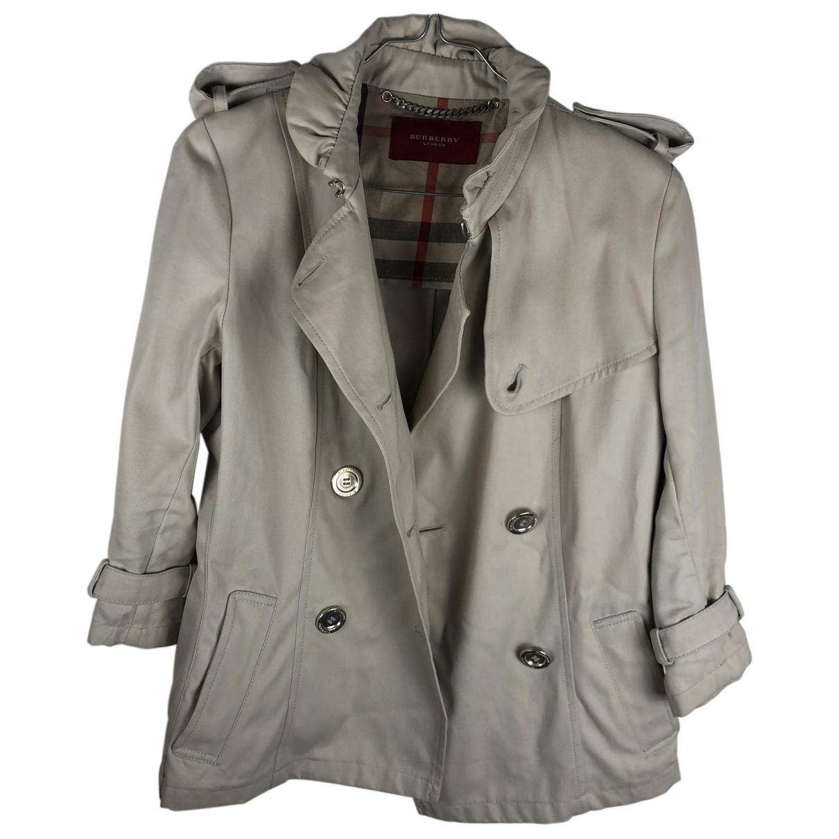 Burberry - Manteau   pour femme en coton - blanc