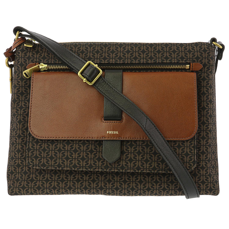 Fossil Women's Kinley Leather Crossbody Cross Body Bag - Black / Brown