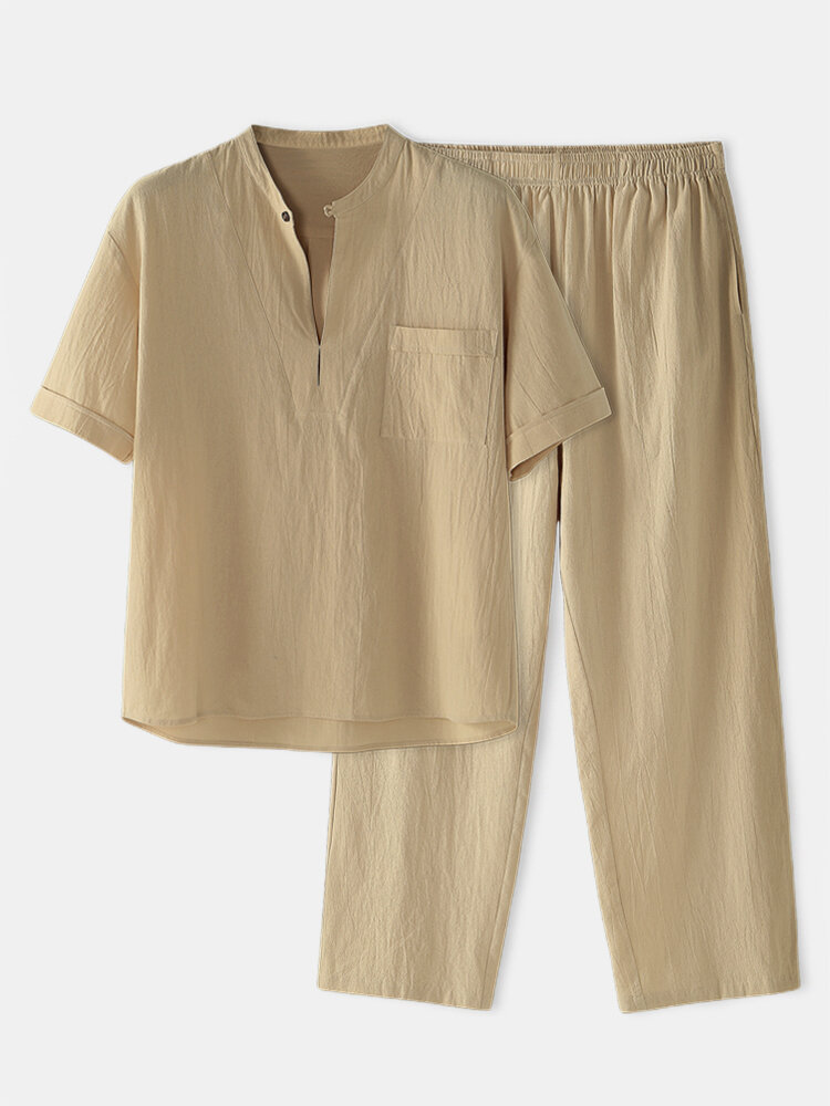 Cotton Linen Breathable Stand Collar Mid Sleeve & Pants Loungewear Sets With Chest Pocket