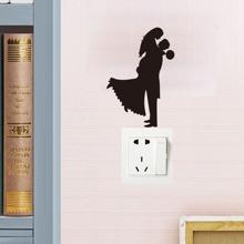 Pegatina de interruptor de silueta con novio y novia romantico