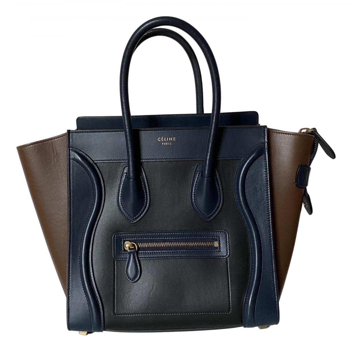 Celine - Sac a main Luggage pour femme en cuir - bleu