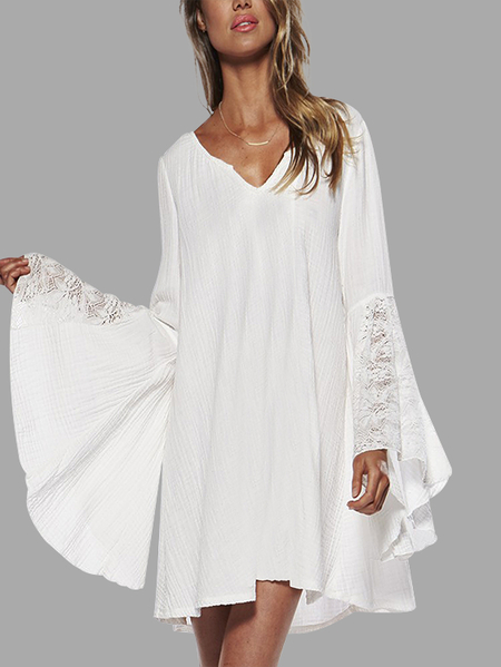 Yoins White Lace Insert V-neck Flared Long Sleeves Loose Fit Dress