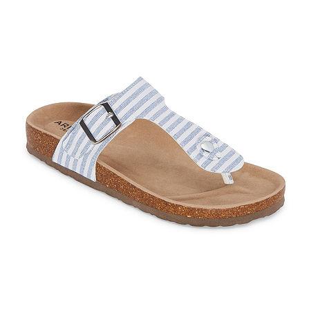 Arizona Fable Womens T-Strap Footbed Sandals, 9 1/2 Medium, Blue