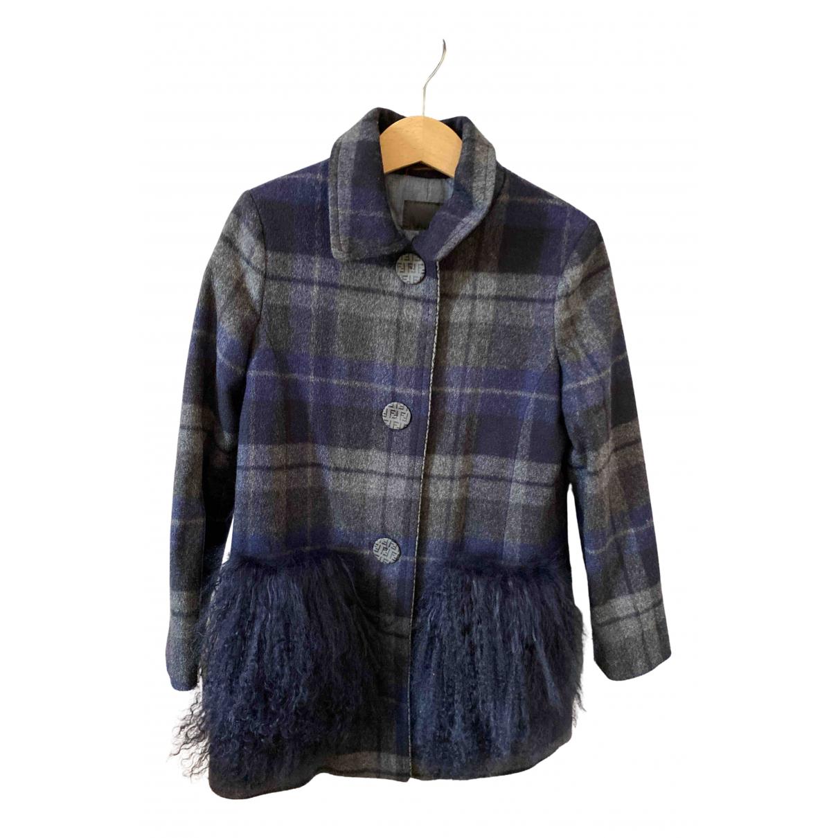 Fendi \N Jacke, Maentel in  Blau Wolle