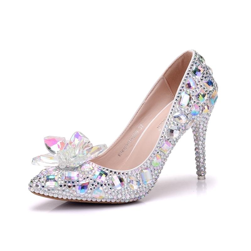 Ericdress Rhinestone Pointed Toe Low-Cut Stiletto Wedding Shoes