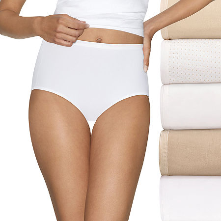 Hanes Ultimate Cool Comfort Cotton Ultra Soft 5 Pack Knit Brief Panty 40hucc, 7 , Beige