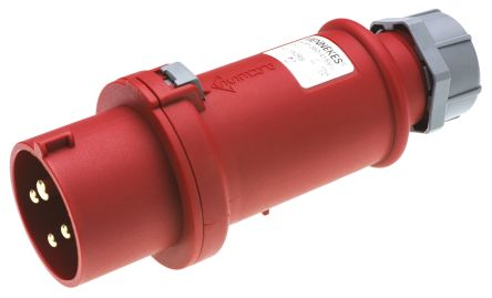 MENNEKES , ProTOP IP44 Red Cable Mount 4P Industrial Power Plug, Rated At 16.0A, 400 V