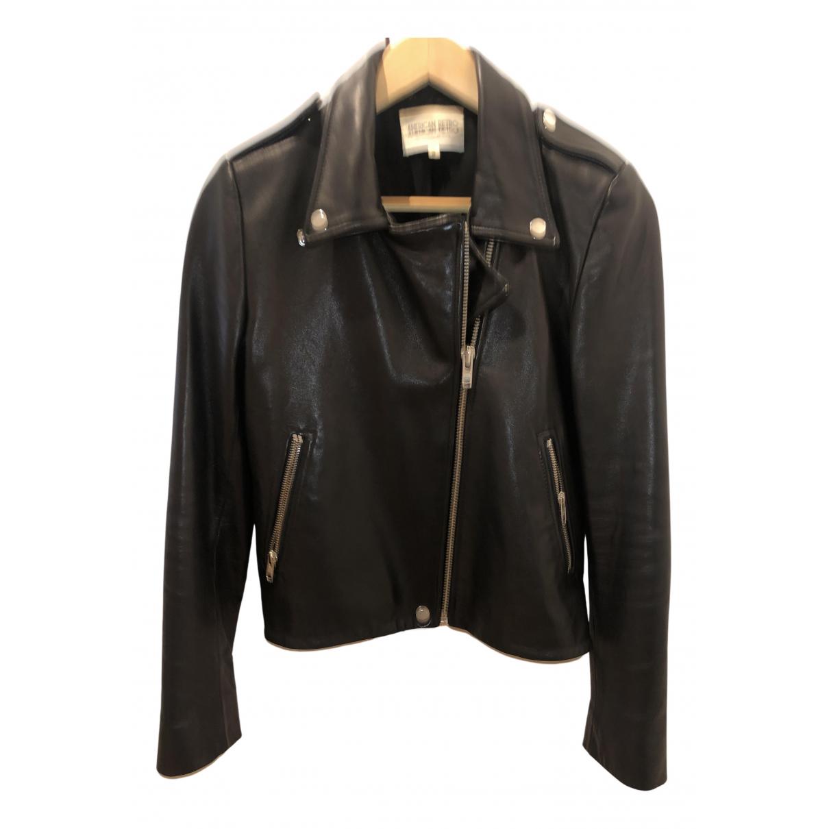 American Retro - Veste   pour femme en cuir - noir