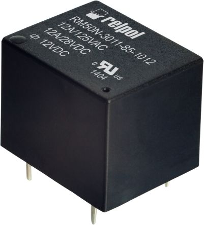 Relpol , 24V dc Coil Non-Latching Relay, 12A Switching Current PCB Mount Single Pole