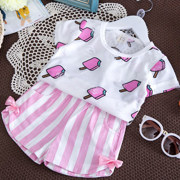 2Pcs Toddler Girls Clothes Set Printed T-shirt + Striped Short Pants For 1Y-7Y