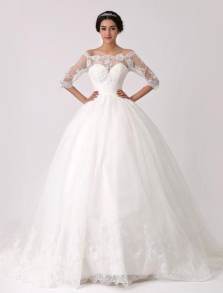 Milanoo Vestido de novia con escote de hombros caidos y pliegues