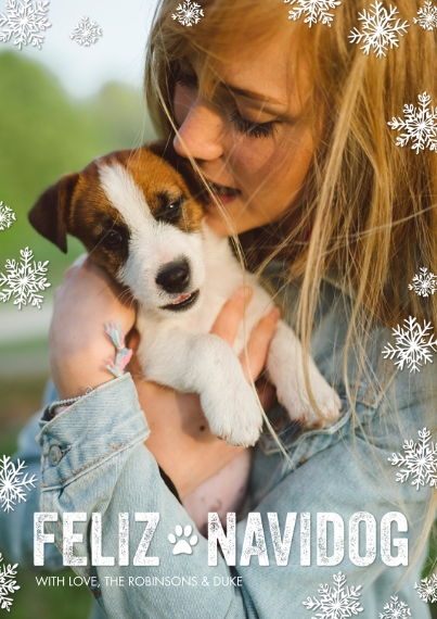 Christmas Photo Cards 5x7 Cards, Premium Cardstock 120lb, Card & Stationery -Feliz Navidog by Tumbalina