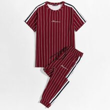 Men Letter Graphic Striped Top & Drawstring Waist Pants Set