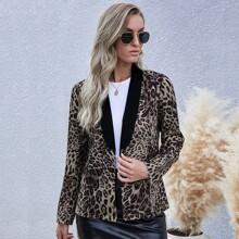 Blazer mit Leopard Muster, Schalkragen und offener Vorderseite
