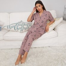 Tribal Print Dual Pocket PJ Set