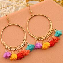 Flower Tassel Drop Earrings