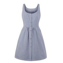 Plus Button Striped Dress