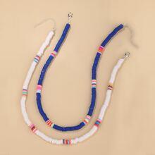 2 Stuecke Halskette mit bunten Perlen