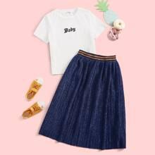 Maedchen T-Shirt mit Buchstaben Muster & Rock Set mit Streife und Glitzer