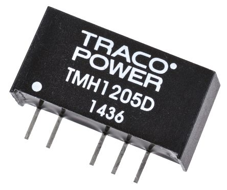 TRACOPOWER TMH 2W Isolated DC-DC Converter Through Hole, Voltage in 10.8 → 13.2 V dc, Voltage out ±5V dc