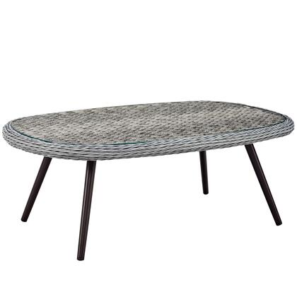 Endeavor Collection EEI-3026-GRY Outdoor Patio Wicker Rattan Coffee Table in Grey