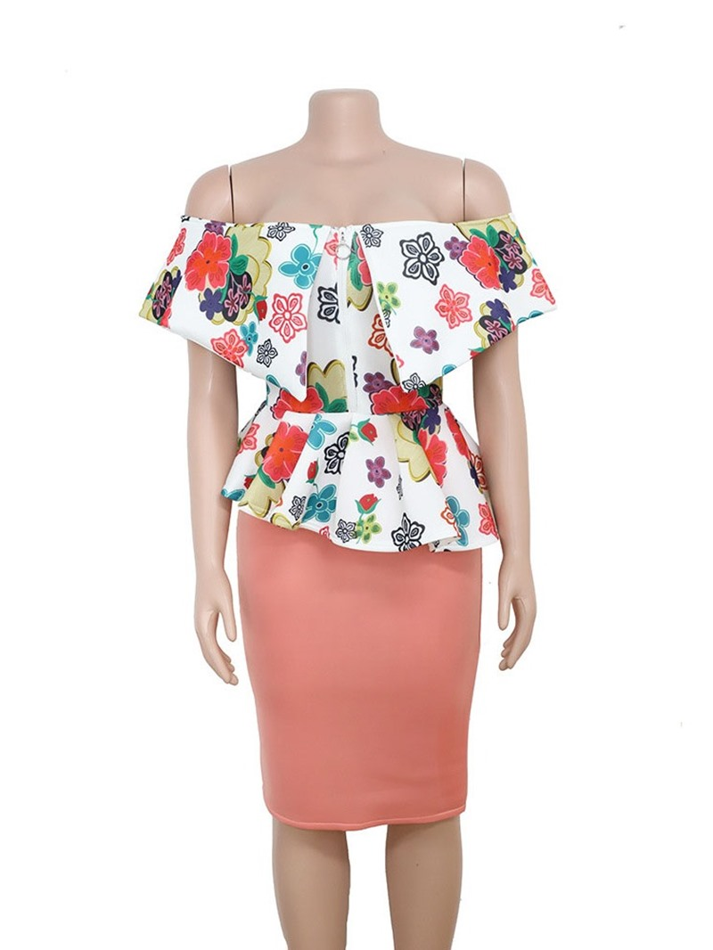 Ericdress Cap Sleeve Patchwork Square Neck Mid Waist Sweet Dress