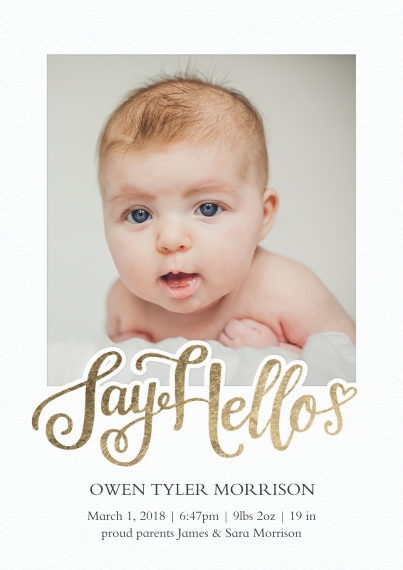 Baby Boy Announcements 5x7 Cards, Premium Cardstock 120lb with Rounded Corners, Card & Stationery -Baby Say Hello
