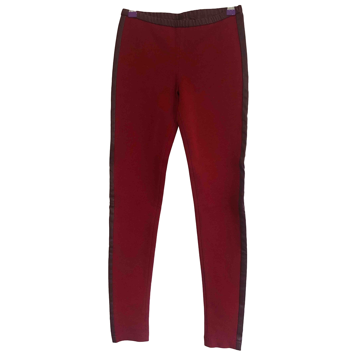 Emilio Pucci \N Burgundy Leather Trousers for Women 40 IT