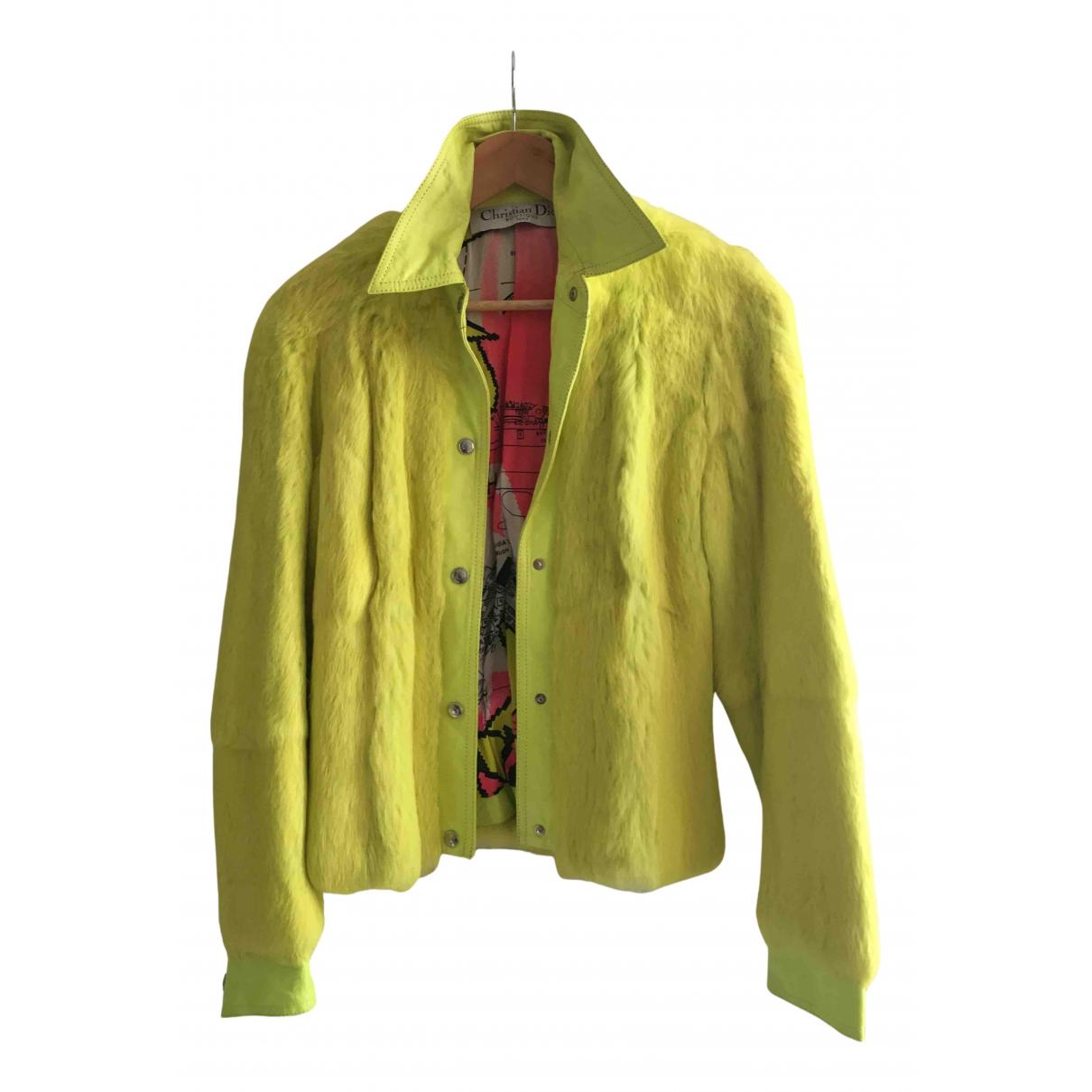 Dior - Blouson   pour femme en cuir - jaune