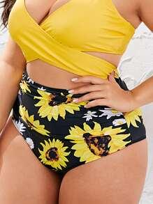 Plus Sunflower Print Ruched Bikini Panty