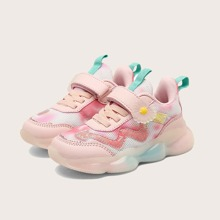 Girls Floral Decor Velcro Strap Chunky Sneakers