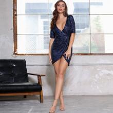 DKRX Deep V Neck Backless Sequin Wrap Dress