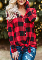 Plaid Splicing Button Long Sleeve Blouse - Red