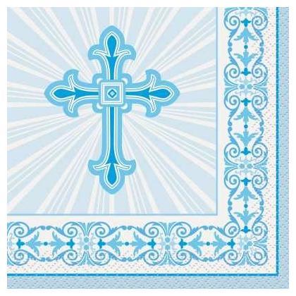 Blue Radiant Cross Beverage Napkins, 16ct