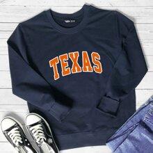 Sweatshirt mit Buchstaben Grafik und rundem Kragen
