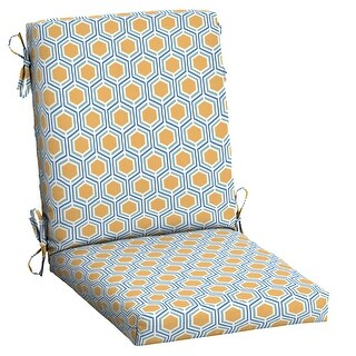 Arden Selections Outdoor 44 x 20 in. High Back Dining Chair Cushion (Honeycomb Geo - 44 in L x 20 in W x 3.5 in H)