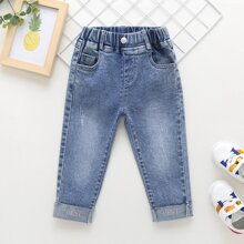 Toddler Girls Letter Embroidery Cuffed Hem Jeans