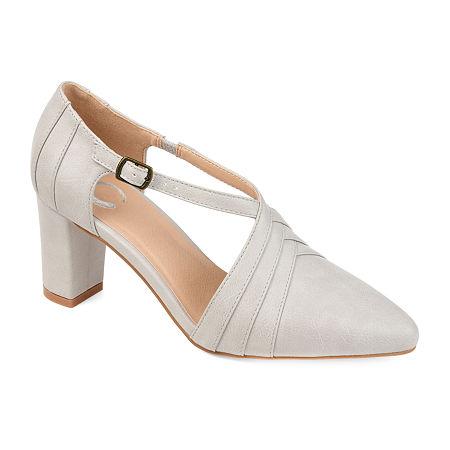 Journee Collection Womens Sandra Pointed Toe Block Heel Pumps, 6 Medium, Gray