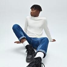 Guys Stand Collar Solid Sweater