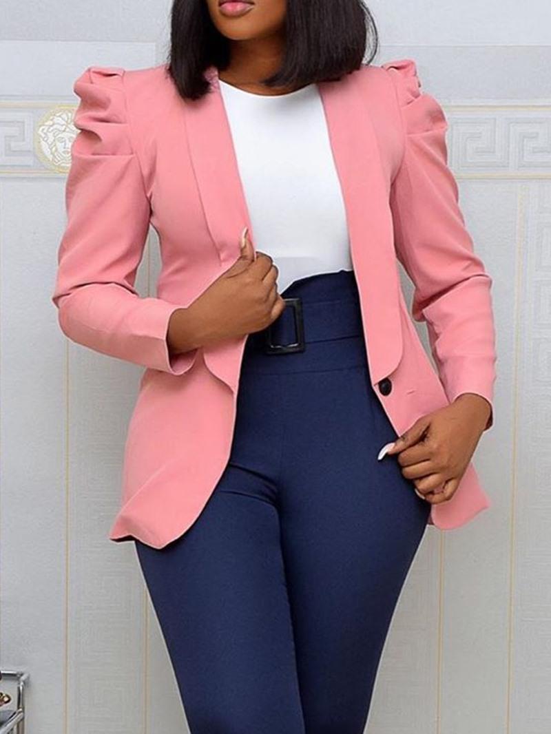 Ericdress Long Sleeve One Button Plain Puff Sleeve Mid-Length Casual Blazer