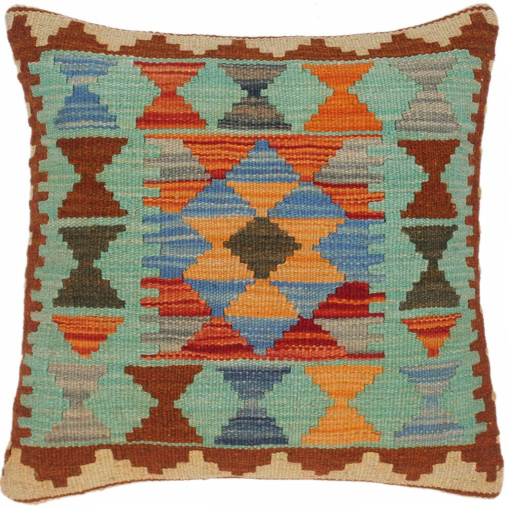 Vintage Clarinda Hand-Woven Turkish Kilim Pillow 17 in. x 18 in. (Accent - 17 in. x 18 in. - Polyester - Rust - Single)