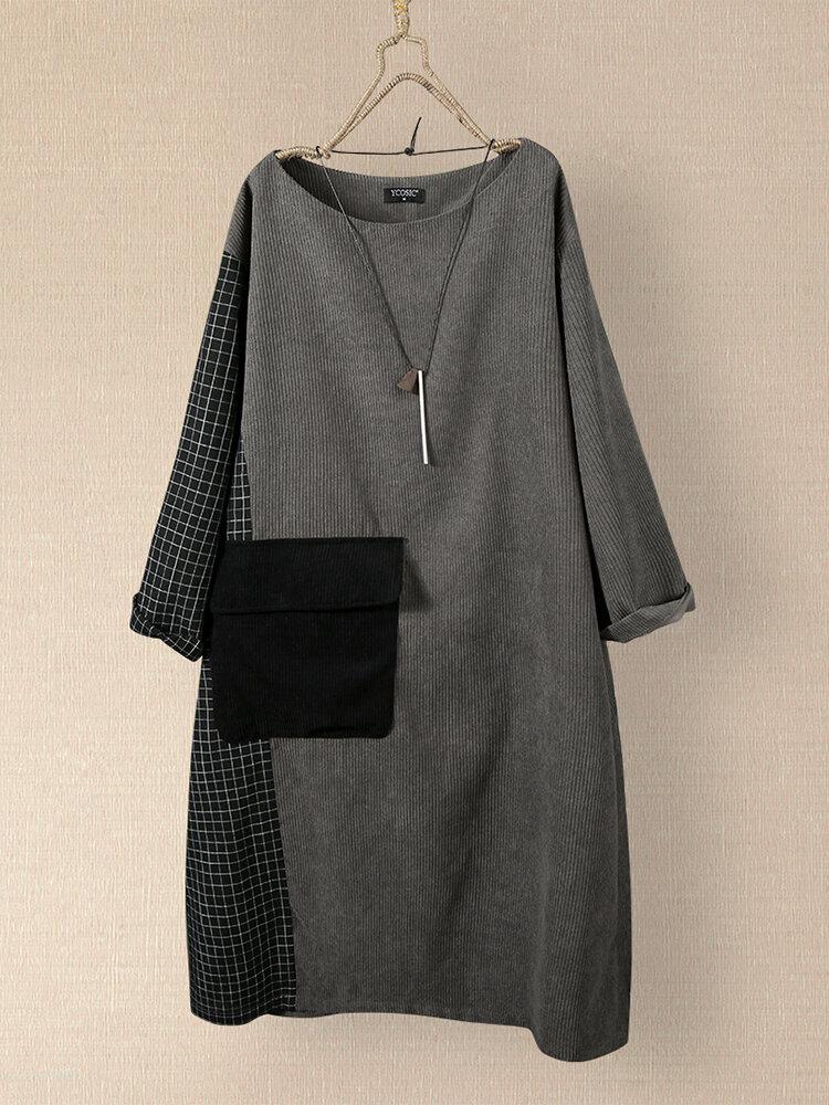 Casual Plaid Patchwork O-neck Corduroy Long Sleeve Midi Dress