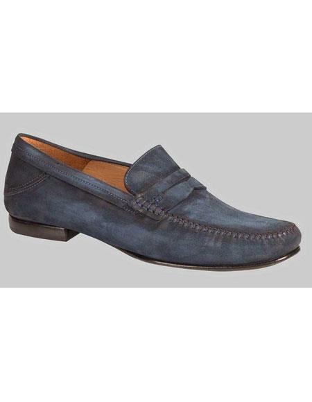 Men's Blue Vintage Suede Penny Loafer Leather Shoes Mezlan Brand