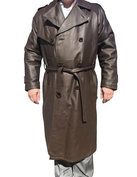 Mens Real Leather Long Trench Gray Coat ~ Overcoat